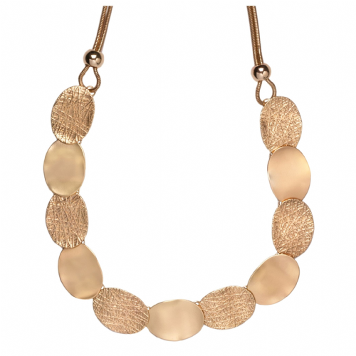 Bisoux Jewellery Mid Length Cleopatra Brushed and Embossed Gold Necklace